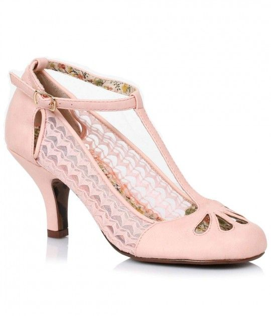 Pink Cutout Posey Lace & Leatherette Retro T-Strap Heels