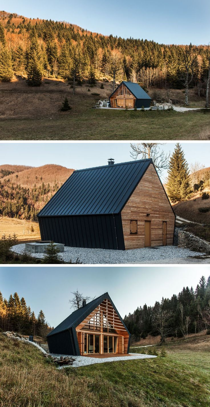 studio PIKAPLUS have designed this small two bedroom house surrounded by woods in Slovenia, that has an exterior of black metal siding and a softer light wood interior.