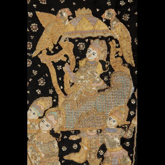 panneau en tissu brod cambodge xixe xxe si cle expertissim asian antiques pinterest. Black Bedroom Furniture Sets. Home Design Ideas