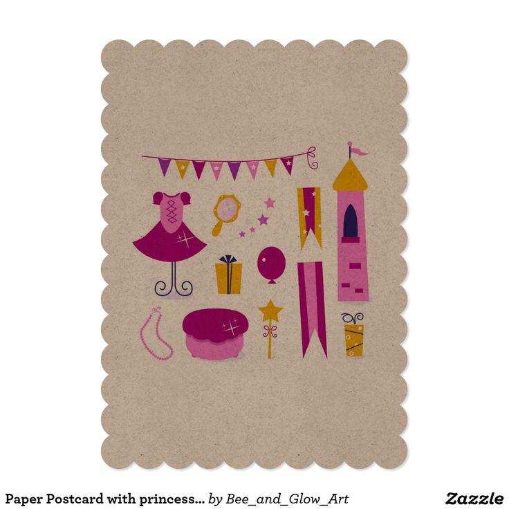 Paper Postcard with princess Castle