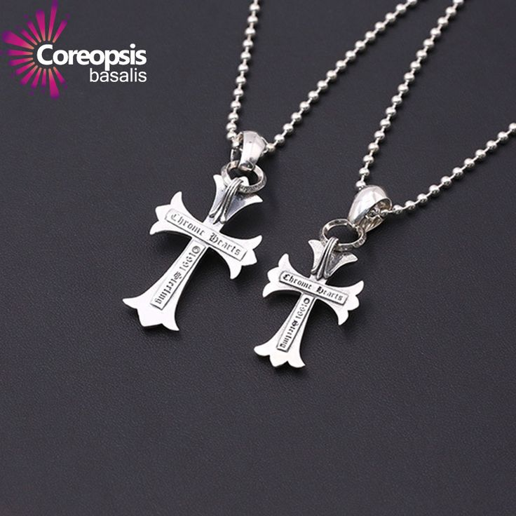 COREOPSIS Silver jewelry Retro Thai Pendants silver men and women in Europe and America popular band Ring Cross Sweater chain  #Affiliate