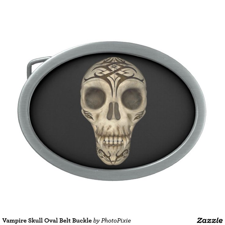 Vampire Skull Oval Belt Buckle