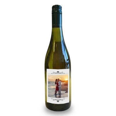 Wijnfles met eigen etiket (witte wijn)