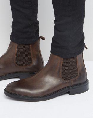 Коричневые кожаные ботинки челси с массивной подошвой ASOS