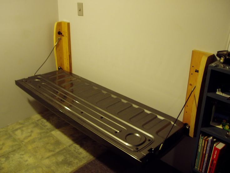 Pickup truck tailgate shop bench.