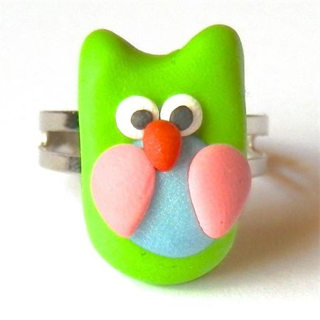 Owl Ring: handmade from polymer clay. Available to purchase from Breeze Creations on Madeit