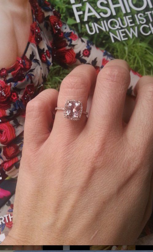 """My amazing peach champagne sapphire engagement ring."" - Lizzy Love"