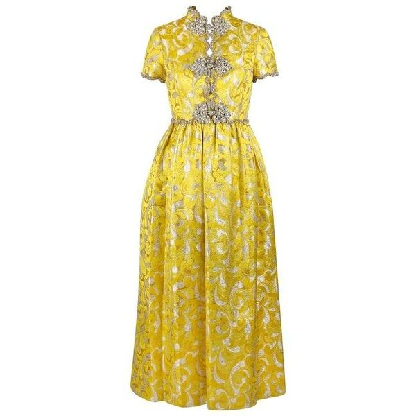 Preowned Oscar De La Renta C.1968 Yellow Lurex Brocade Silk Beaded... ($3,294) ❤ liked on Polyvore featuring dresses, evening gowns, yellow, yellow silk dress, short sleeve dress, mock neck dress, short-sleeve maxi dresses and scalloped dress