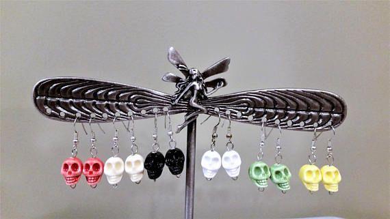 6 Pairs ceramic skull earrings  Halloween/Cinco de Mayo
