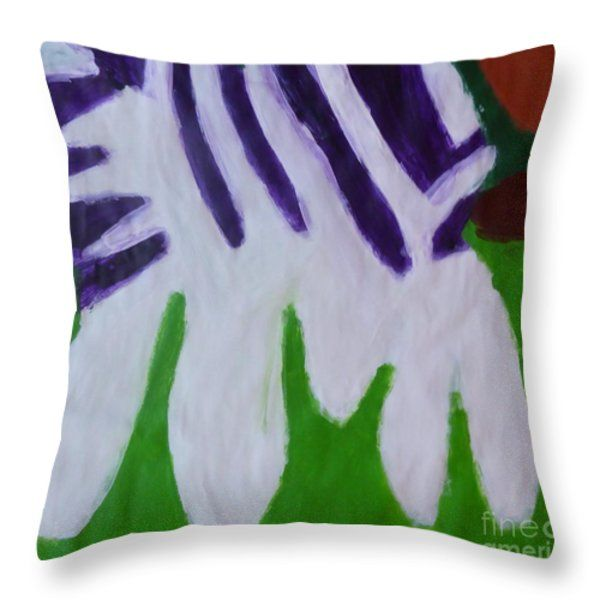 Patrick Francis Throw Pillow featuring the painting Zebra 2014 by Patrick Francis