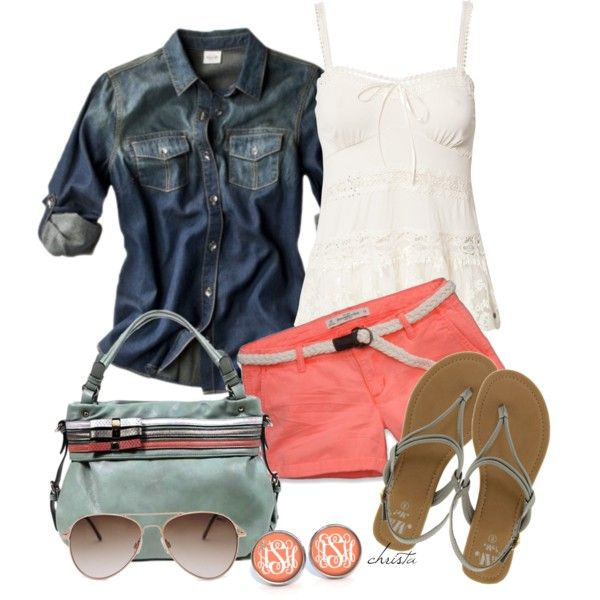 Cute outfit! Colorful shorts and denim/chambray shirt with sandals & a textured tank.