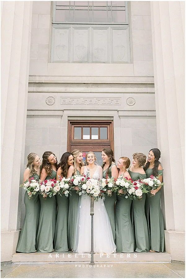 Bride And Her Bridesmaids Fall Indianapolis Wedding In 2020 Wedding Photography Inspiration Indianapolis Wedding Bridesmaid Inspiration