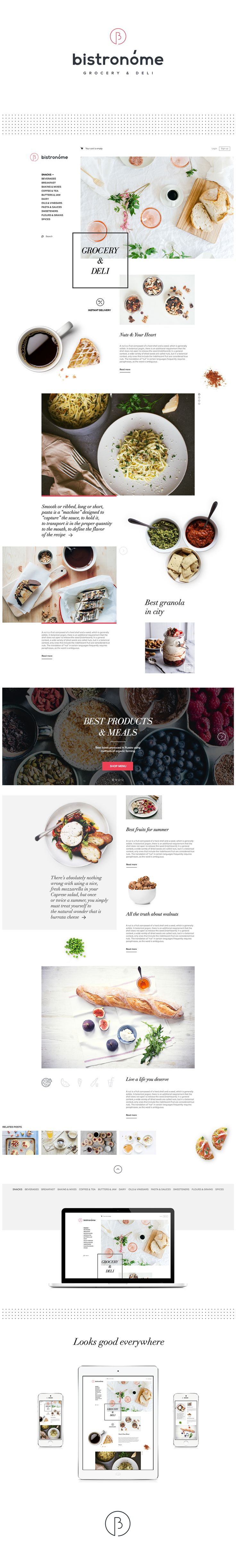Concept for Bistronome — Grocery & Deli. Delivery 24/7.Naming, logotype, branding, website.