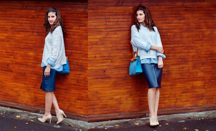 Irenka skirt, Zara shirt and sweater, Bata boots, Hermes bag www.cloudnumber9.ro