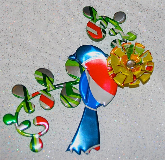 Recycled Soda Can Art  LARGE Multi Dimensional Bird on by apmemory, $7.25
