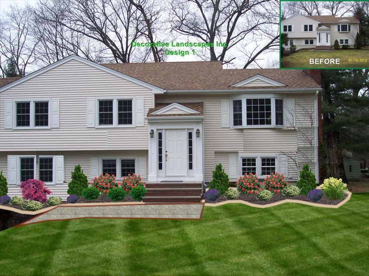 60 best split level curb appeal paint images on for Landscaping a small area in front of house