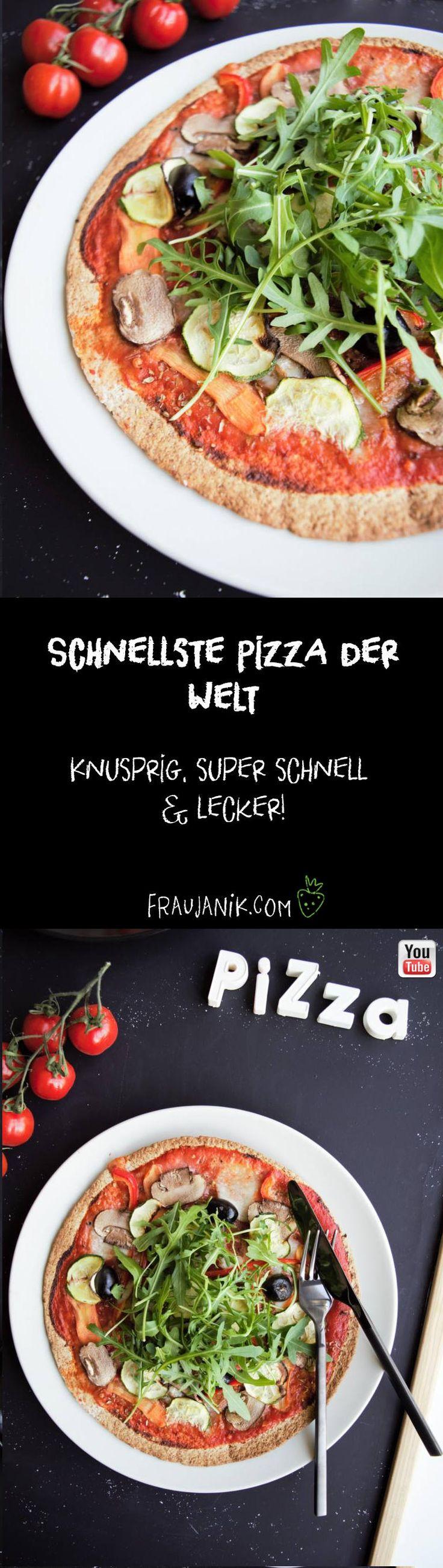Schnellste Pizza der Welt! - knusprig, super schnell & super lecker... Gesunde Pizza  #pizza #gesund #gesundkochen #gesundepizza #gesundbacken #gesunderezepte #tortilla #tortillapizza