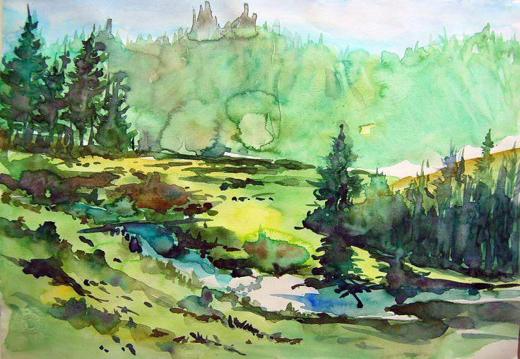 Quiet Running Forest River-22cmx34cm Watercolour