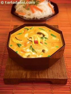 The true highlight of this dish is the paste that is made using red chillies, onions and other well-chosen ingredients. You can make it fresh for a better taste; or to save time, you can make it in bulk and deep-freeze to use as and when required. Healthy ingredients like tofu, mushroom and other veggies enhance this recipe's health quotient while a basket of creatively-combined ingredients make it a delight for the taste-buds. If you do not like tofu, you can replace it with low fat paneer…