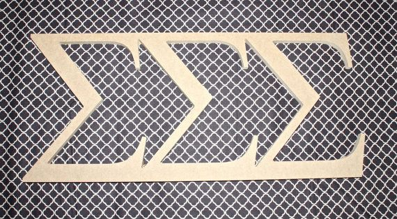 These are wooden, paintable Greek Sorority and Fraternity letters. Sigma Sigma Sigma.