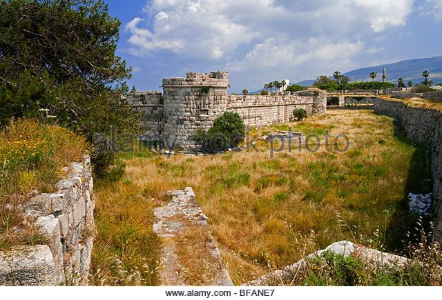 Kos Castle or the Knight's Castle also known as Neratzia Castle a 14th century fortress built by Knight's - Stock Image