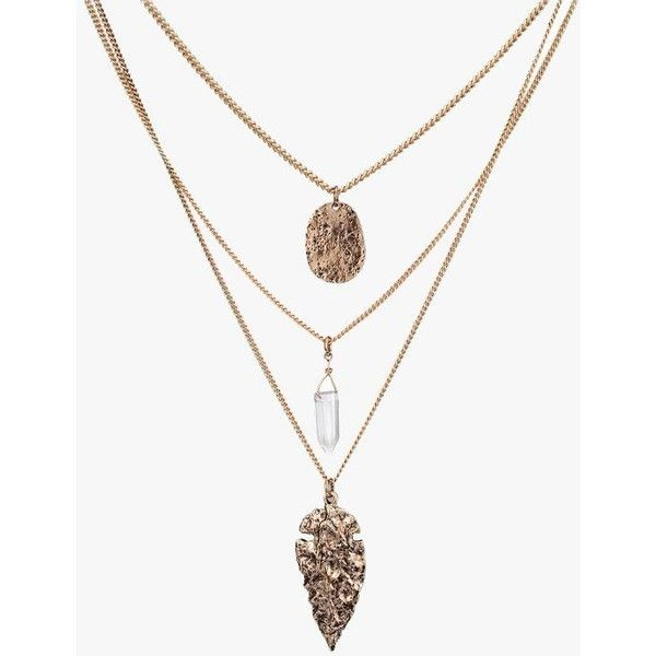 Three Layers Metal Charms Long Necklace ($17) ❤ liked on Polyvore featuring jewelry, necklaces, antique gold, chain necklace, charm chain necklace, double layer necklace, multi layer chain necklace and multi layer necklace