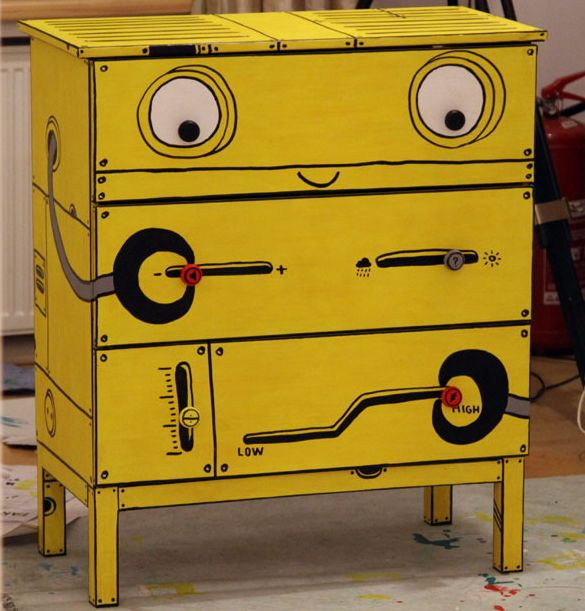 Hand-painted @IKEA USA Tarva chests of drawers by Romanian illustrator Ghica Popa.