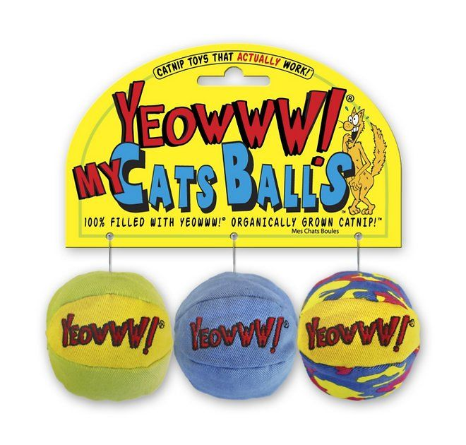 Yeowww Catnip My Cats Balls Cat Toy 3 Count Chewy Com Cat Ball Catnip Toys Cat Toys