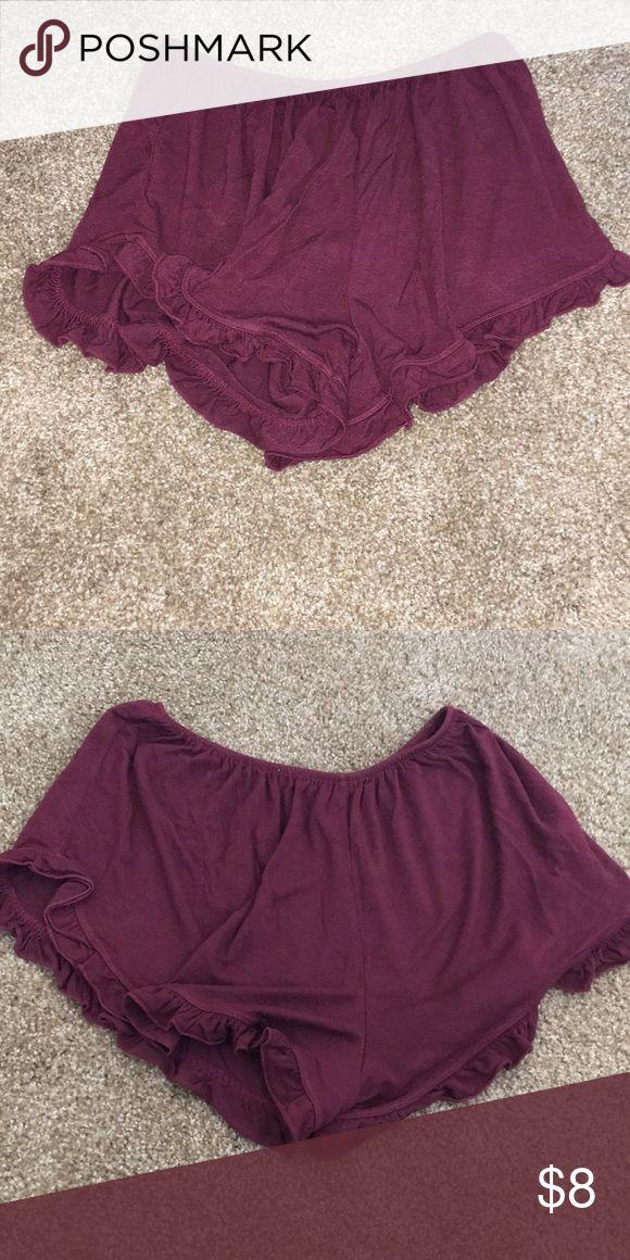 Brandy Melville Maroon Shorts Loose flowy shorts with ruffles on bottom Brandy Melville Shorts