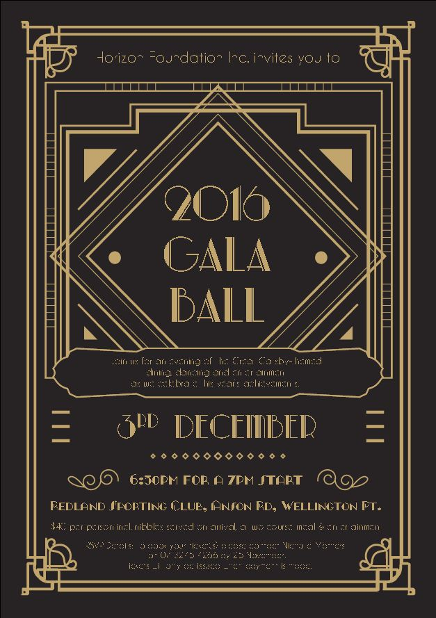 'Great Gatsby' inspired invitation for Gala Ball