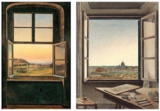 Tableau de Johan Christian Dahl et aquarelle de Constant Moyaux,