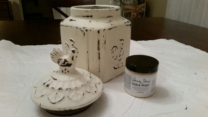 Thrift store ceramic canister! Love chalk paint! I did it!