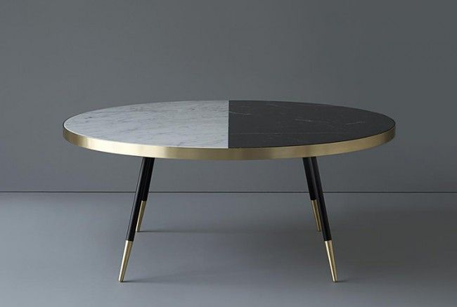 Band Collection designed by Bethan Gray.Caption: Coffee table in marble and brass.