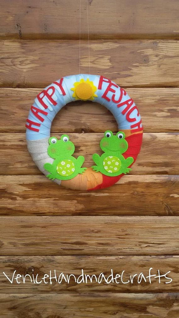 Felt wreath Happy Passover gift Passover frogs Happy Pesach