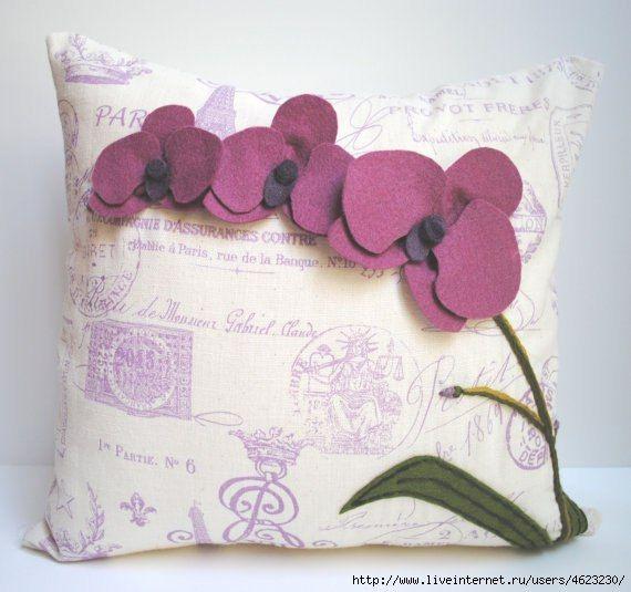 Декоративные подушки с аппликациями из фетра. Идеи для вдохновения.