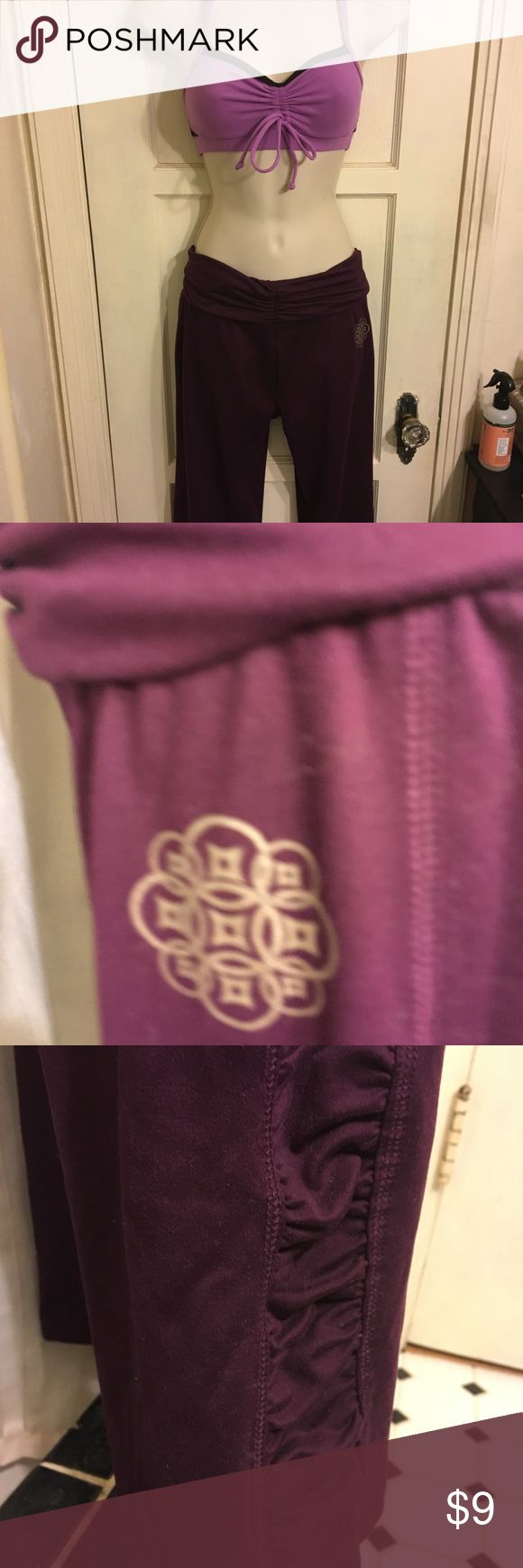 Dark purple Champion yoga pants Size M. Never worn Champion athletics yoga pants. High gold over waist. Full length. Ruching on bottom. Champion Other