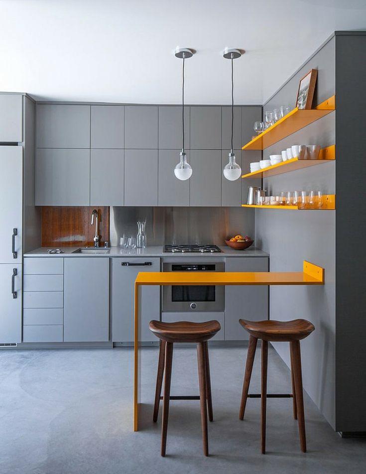 Coin kitchenette américaine an gris et jaune