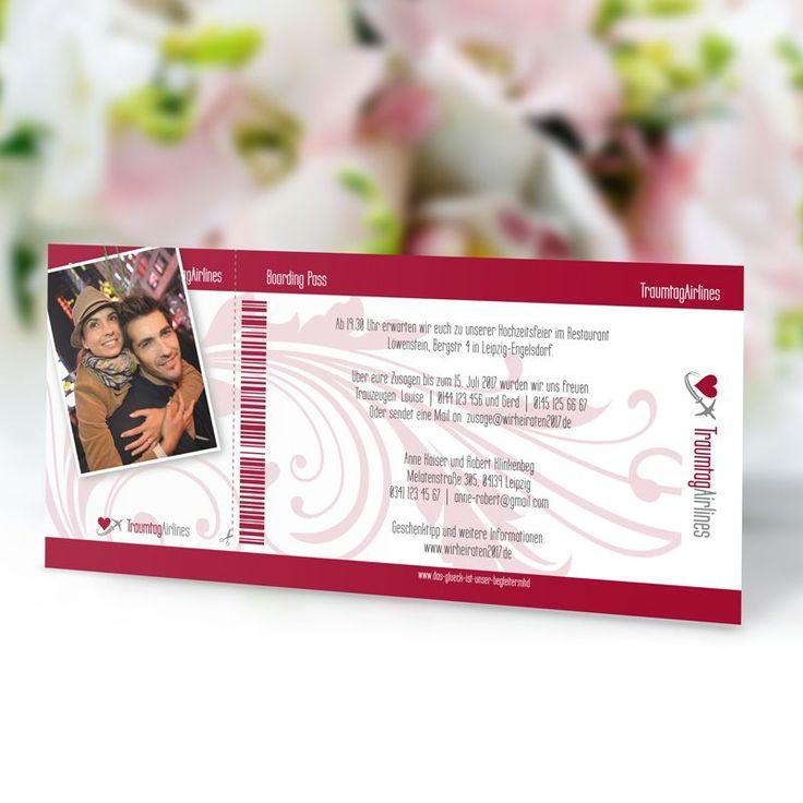 Einladungskarte Hochzeit Flugticket Bordeaux