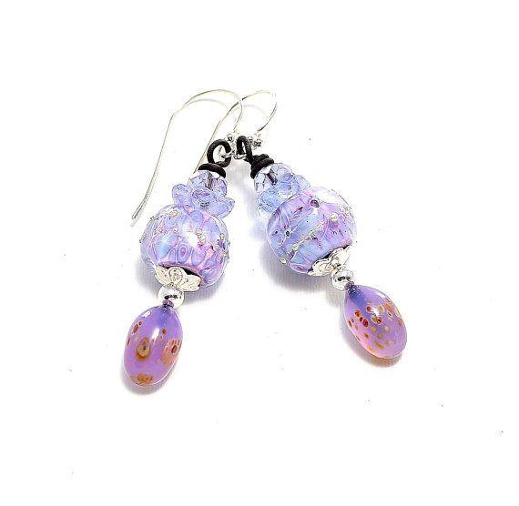 Gifts For Mother's Day! Springtime Lavender Earrings. Boho Dangle Earrings. Handmade Artisan Lampwork Jewelry.