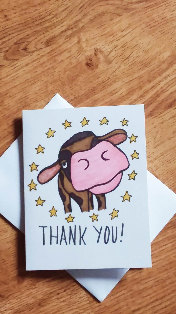 brown cow thank you card size small with envelop  thank