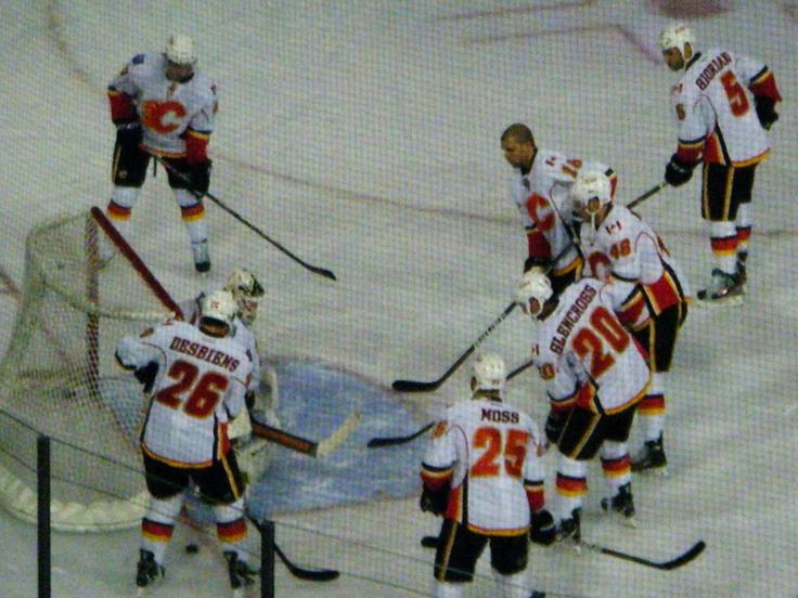 Calgary Flames warming up pre-game March 16, 2012 Edmonton, AB