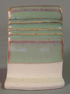 fired in a cone 6 electric kiln on white stoneware  Opaque Semi Matt Glaze 4 (from The Complete Book of Clay and Glazes) Custer feldspar 41....