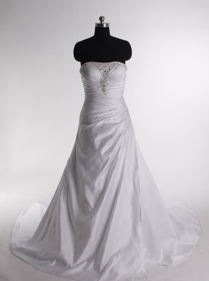 A-line Strapless Chapel Train Charming Satin with Ruffle wedding dress