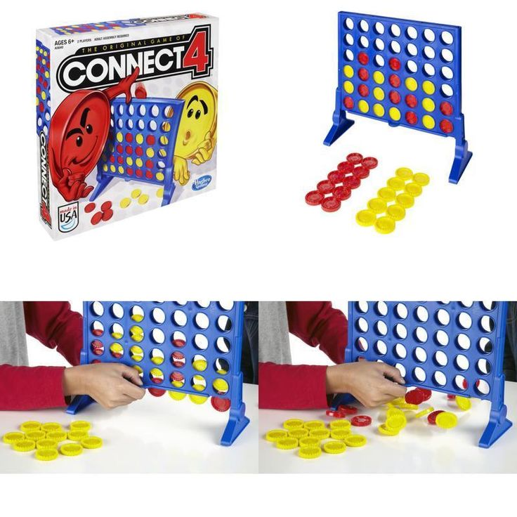 Connect 4 Game Original Four-In-A-Row Board Fun Portable Travel Family Kids Toy #Hasbro #Custom