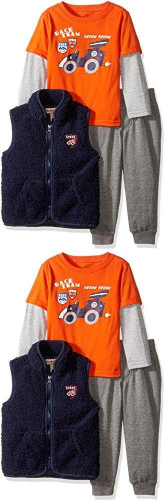 Kids Headquarters Little Boys' Toddler 3 Pieces Vest Pants Set - Twofer Tee, Orange, 3T