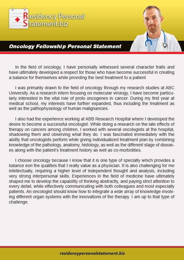 If You Are Ready To Write Oncology Fellowship Personal Statement
