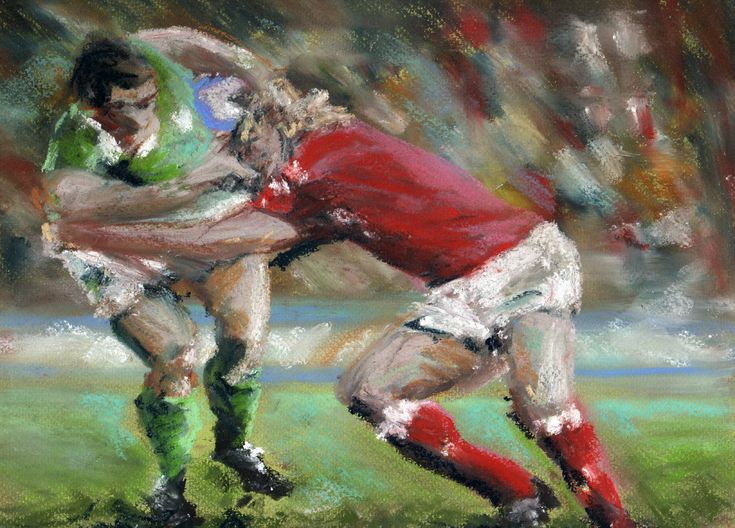 Rugby Players Original Pastel And Chalk Drawing Painting 80 00 Via Etsy Chalk Drawings