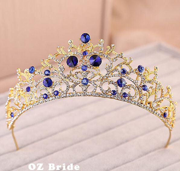 Cheap Alto grado de zafiro azul oro magnífica corona nupcial de la boda de la corona con joyería, Compro Calidad Joyas para Cabello directamente de los surtidores de China:         Color: plata Material: aleación, rhinestones Estilo de la joyería: Headwear Sombreros: corona