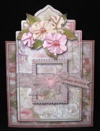 Peaches   Cream Petunias Shaped Card Mini Kit on Craftsuprint created by Suzi Cooper - Printed onto 250gsm matte photo card. Scored