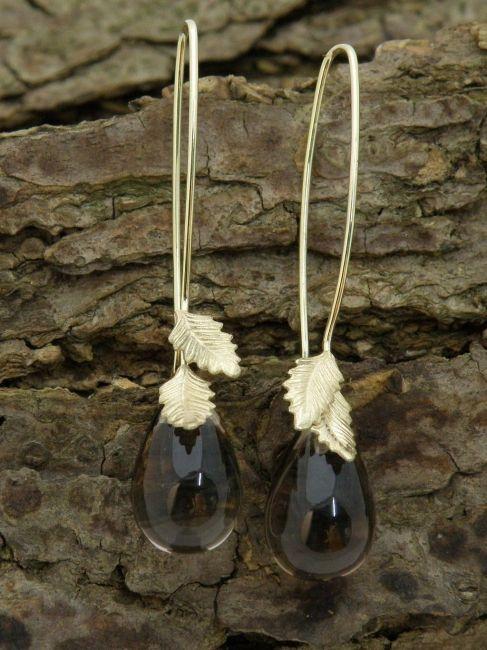 * earrings | oogst-sieraden * Oorsieraden * Geelgoud met rookkwarts pampels *